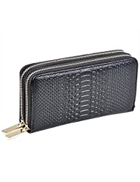 Kaimao Women Cowhide Leather Purse Two Zipped Ladies Wallet with Carry Strap for Mobile Phone / Credit Cards / Coins / Cash Organised