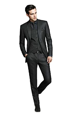 Men\'s Black Groom Tuxedos Business Best Man Slim Fit Formal Wedding ...