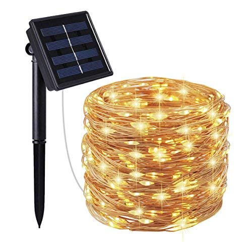 Moreplus Solar Powered String Lights 200 LED 72ft 8 Modes Copper Wire Lights Indoor/Outdoor Waterproof Decorative String Lights for Patio Garden Wedding Christmas Decor (100 LED, Warm White-01)