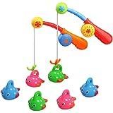 Naisicatar baño Juguetes para los niños de Edad 3 4 5 Bañera Juguetes de la diversión del Juego de Pesca con Pescado Manchado Lindo y caña de Pescar, Fajiabao Juguete de Regalo Ideal para niños *