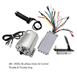 TDPRO 48V 1800W Brushless Electric Motor and Controller Throttle Grip Accelerator Pedal Set For Go Kart Scooter E Bike Motorized Bicycle ATV Moped Mini Bikes
