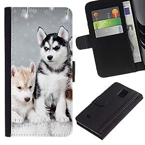 eJoy---La carpeta del tirón la caja de cuero de alta calidad de la PU Caso protector - Samsung Galaxy Note 4 IV - --Husky Winter Dog Puppy Canine