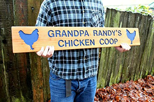(CHICKEN COOP Sign, Hand Routed Cedar Wood Sign, Farm Sign, Custom Sign, Personalized Marker, Outdoor Signage, Chicken Sign, Hen Marker)