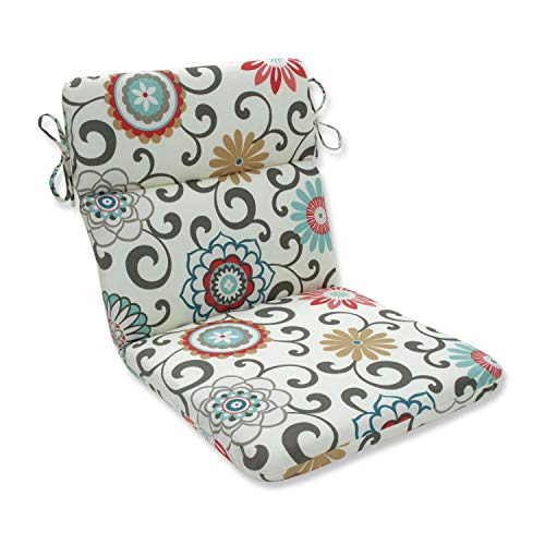 Pillow Perfect Outdoor Pom Pom Play Peachtini Rounded Corners Chair Cushion ()