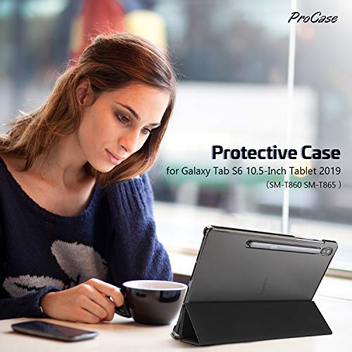 ProCase Galaxy Tab S6 10.5 Case 2019 with S Pen Holder (Model SM-T860/T865/T867), Ultra Slim Lightweight Stand Protective Case with Soft TPU Back Cover for Galaxy Tab S6 10.5-Inch Tablet 2019 –Black