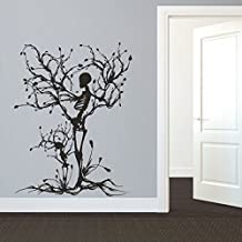 Wall Decal Decor Gothic Wall Decal Halloween Decor Skeleton Art Sticker Tree Wall Art For Living Room (Large,Black)
