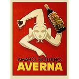 "Amaro Siciliano Averna Red Wine Italy Italia Italian Drink Bar Restaurant Vintage Poster Repro (12"" X 16"" Image Matte Paper) …"