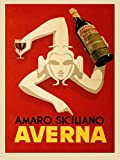 CANVAS Amaro Siciliano Averna Red Wine Italy Italia Italian Drink Bar Restaurant Vintage Poster Repro (12'' X 16'' Image Rolled Up Canvas)