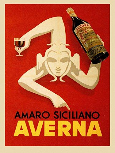 CANVAS Amaro Siciliano Averna Red Wine Italy Italia Italian Drink Bar Restaurant Vintage Poster Repro (12