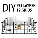 Allisandro Pet Playpen, Portable Metal Wire Yard Fence, Indoor Outdoor Small Animal Cage