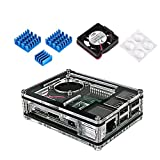 Miuzei Rapsberry Pi 3 Model B+ Case with Fan and 3 Pcs Heatsinks for Raspberry Pi 3 B+, 3 B, 2, 2 Model B