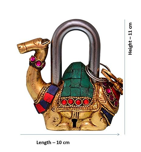 Purpledip Camel Shaped Brass Lock Padlock: Handmade Antique Design With Colorful Gemstone Work; Unique Collectible Combination Of Style & Security (10685) by purpledip (Image #4)