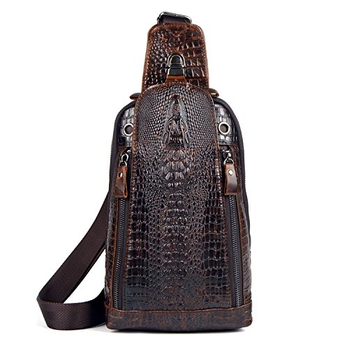 Sunmig Men's Crocodile Genuine Leather Crossbody Chest Bag Hiking Sling Daypack (Model 3201)