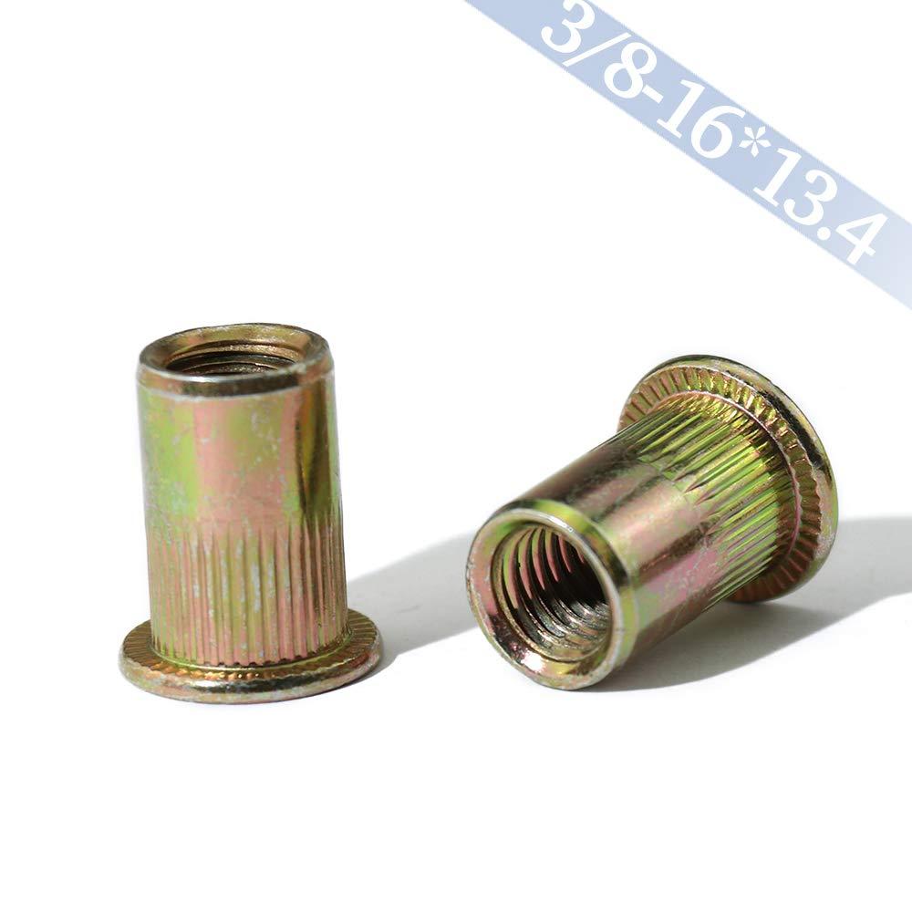 Boeray 20pcs 3/8-16 Zinc Plated Carbon Steel Flat Head Rivet Nut Threaded Insert Nut Rivnut by boeray