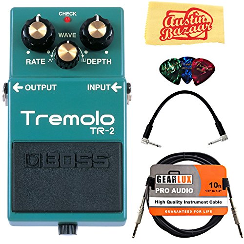 Boss TR-2 Tremolo Bundle with Instrument Cable, Patch Cable, Picks, and Austin Bazaar Polishing Cloth by BOSS
