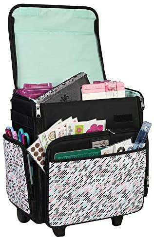 Everything Mary Collapsible Rolling Craft Bag, Pill – Wheeled Scrapbook Tote for Scrapbooking & Art – Travel Organizer Storage Bin for Paper, Glue, Tape – Roller Cart for Teachers & Medical