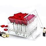Weiai Clear Acrylic Rose Box Wedding Flower Gift Box Square Multifunctional Water Holder Flower Pot Makeup Organizer C217 series (16 holes)