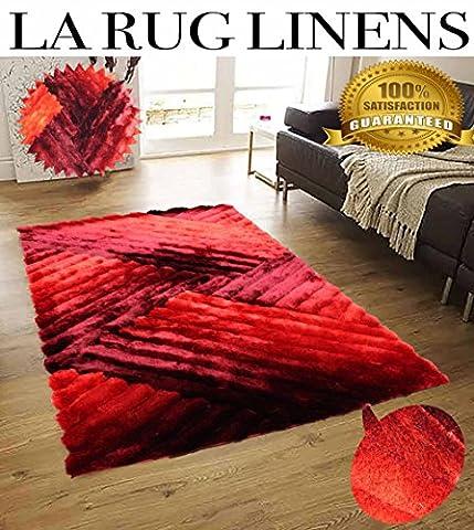 Shimmer Shaggy Viscose Vibrant Lines Design Hand Tufted Shag Area Rug Crimson Chipotle Red (5'x7')-SAD 396 - Tufted Zebra Rug