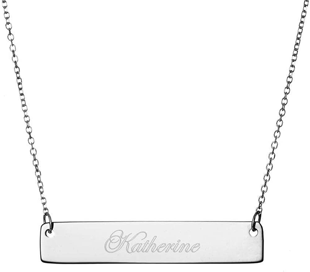 925 Sterling Silver Personalized Monogram Name Bar Necklace Custom Engraved