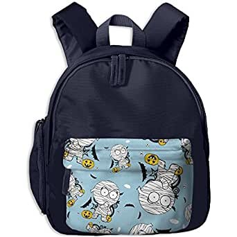 Halloween Mummy Cartoon Printed School Backpacks For Boys Girls With A Pocket Book Bag