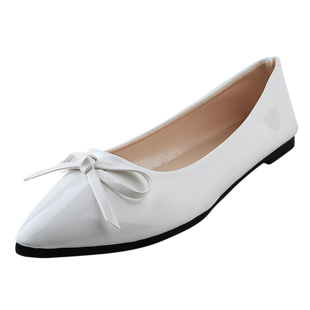 Tsmile Women Single Shoes Fashion Casual Solid Color Bow Flat Point Toe Patent Leather Non-slip Thin Working Shoes