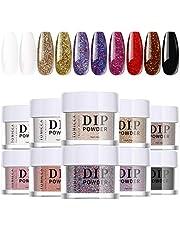TOMICCA Dip Powder Nail Starter Kit, 10 kleuren Dip poeders Nail Art Set, wit zwart glitter Sequin French Manicure Nail Art Design Set