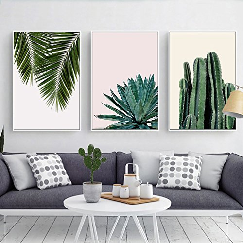 Stylish Cactus, Agave & Palm Leaves Canvas Print, Wall Art,