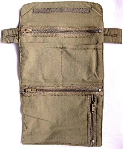 Life Line Sicherheits Etui Stoff Tasche Petro Wallet für Knopfbefestigung beige 10x13,5 cm