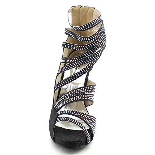 Eye Candie Wink-201 Femmes Paillettes Multi Strappy Retour Zipper Stiletto Talon Sandale Noir