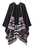 Women's Vintage Pattern Open Front Poncho Cape Shawl (Series 6-Black)