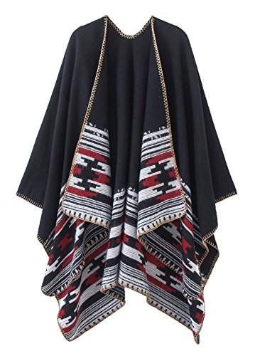 Women's Vintage Pattern Open Front Poncho Cape Shawl (Series 6-Black) by Urban CoCo