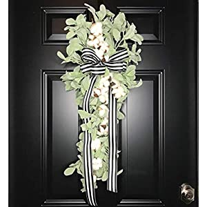 """Large Lambs Ear and Cotton Teardrop Swag Wreath for Front Door, Porch, Wall, Spring, Summer or Year Round Modern Farmhouse Style Indoor Outdoor Home Decor, Handmade 34"""" 6"""