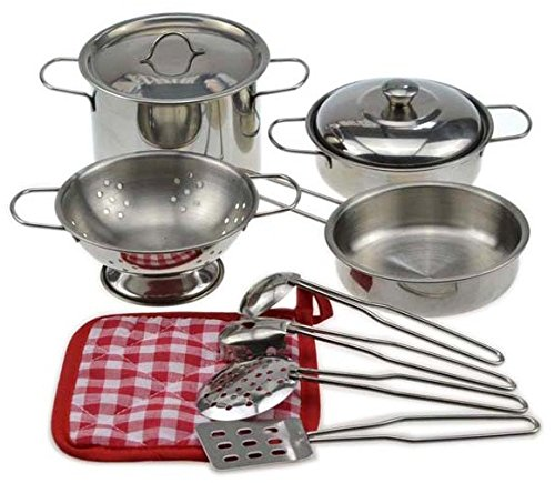 My First Play Kitchen Toys Pretend Cooking Toy Cookware Playset For Kids 11-Pieces Stainless Steel Pots and Pans with Cooking Utensils -Dishwasher Safe
