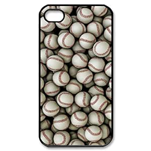 wugdiy Customized Hard Back Case Cover for iPhone 4,4S with Unique Design Baseball