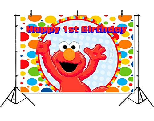 Sesame Street Backdrop 7x5 Thin Vinyl Photography Background Red Elmo Turns 1 Photography Backdrops for Photo Studio Child Birthday Party -