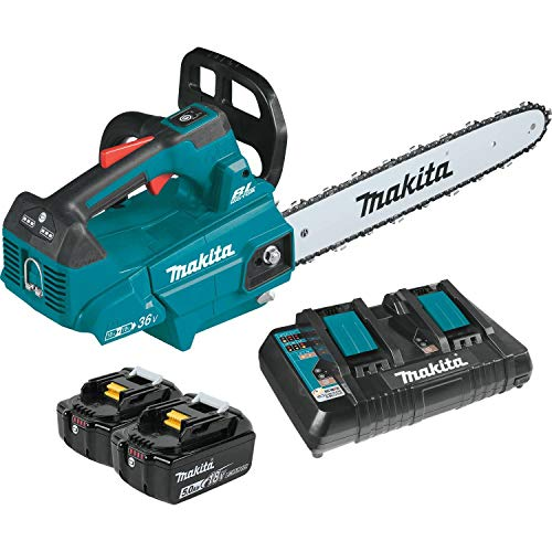 Makita XCU09PT Lithium-Ion Brushless Cordless (5.0Ah) 18V X2 (36V) LXT 16″ Top Handle Chain Saw Kit, Teal