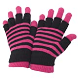 #9: Ladies/Womens Striped Thermal 2 In 1 Magic Gloves (Fingerless & Full Fingered)