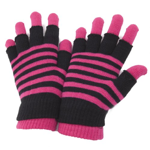 Nylon Gloves Striped (Universal Textiles Women's Striped Thermal 2 In 1 Magic Gloves Fingerless And Full Fingered One Size Pink)