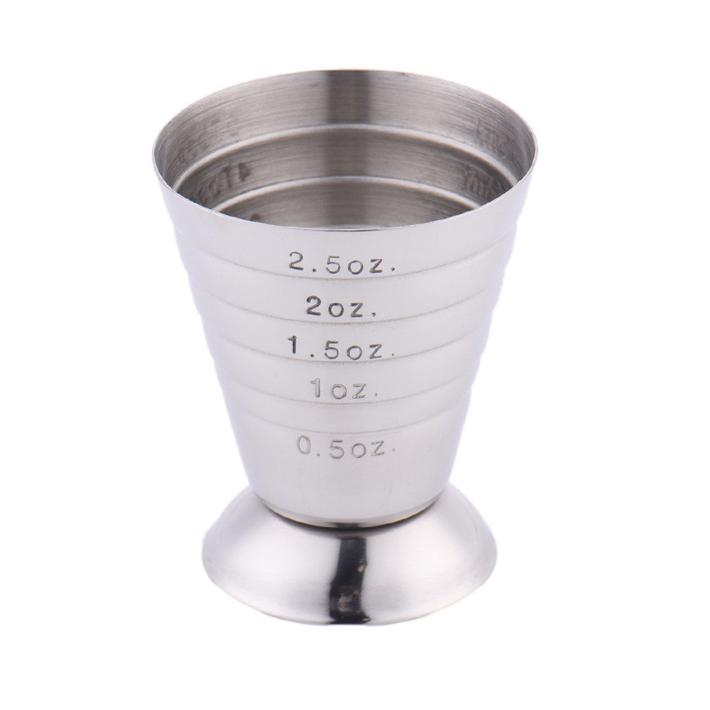 Funnytoday365 Stainless Steel Measuring Shot Cup Ounce Jigger Bar Cocktail Drink Mixer Liquor Measuring Cup Measurer Mojito Measuring Tool