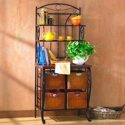 Lineage Home Furnishings - Red Barrel Studio Lineage Storage Baker's Rack, Black