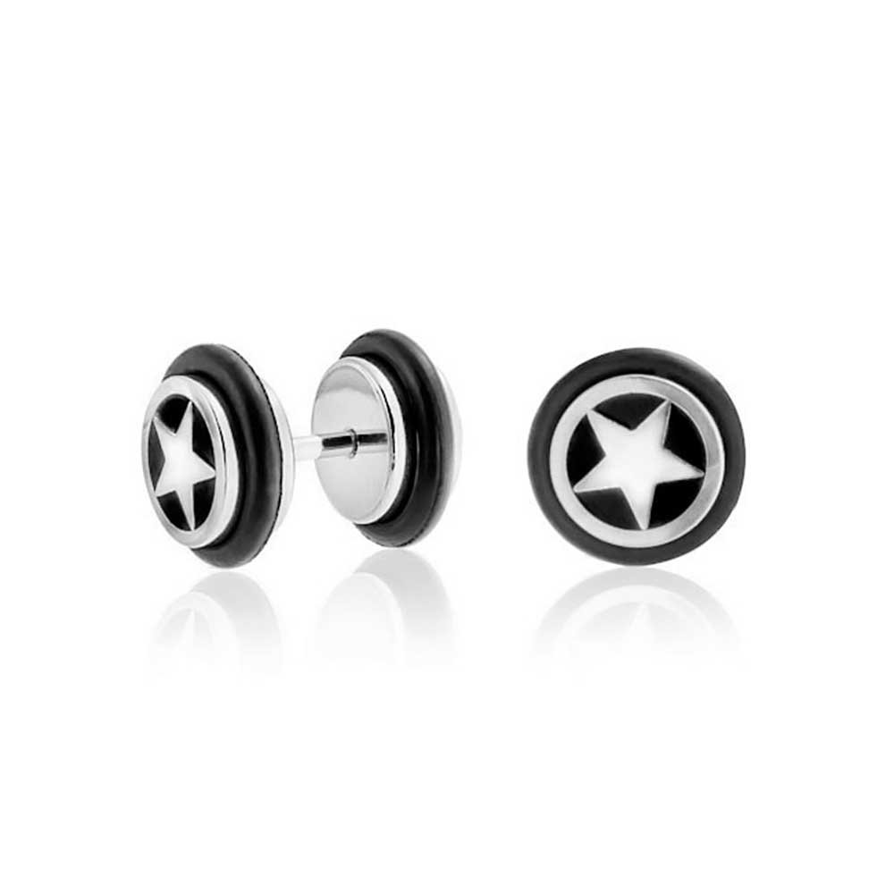 Star Illusion Fake Black Ear Plug Surgical Steel 16G