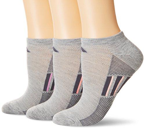 adidas Womens Climacool Superlite No Show Socks (3-Pack), Light Heather Grey/Orange/Flash Red, Size 5-10