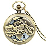 Jewelrywe Bronze Biker Motorcycle Motorbike Moto Pocket Watch Necklace Pendant Mens Fathers Day Gifts