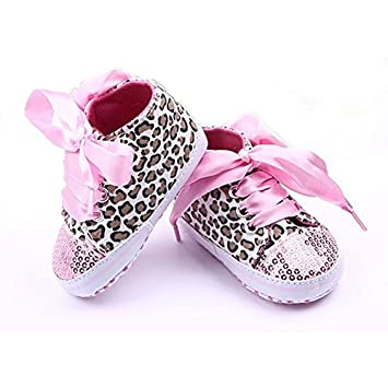 325a98f972f18 Amazon.com   Girls Sneakers - SODIAL(R)New Infant Toddler Leopard Sequins  Sneakers Baby Girls Soft Sole Crib Shoes 6-9 Months 12cm pink   Baby