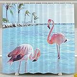 BINGO FLAG Funny Fabric Shower Curtain Animal Pink Flamingo Waterproof Bathroom Decor With Hooks 60 X 72 Inch