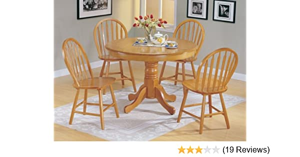 Amazon 5pc Country Style Oak Finish Wood Round Dining Table 4 Windsor Chair Set Kitchen