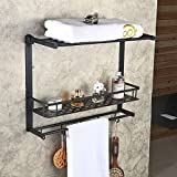Hiendure™ Oil Rubbed Bronze Solid Brass Wall Mounted Dual Tier Corner Bracket Bathroom Storage Shelf Shower Caddy Cosmetics Holder with Safefix and Towel Bar