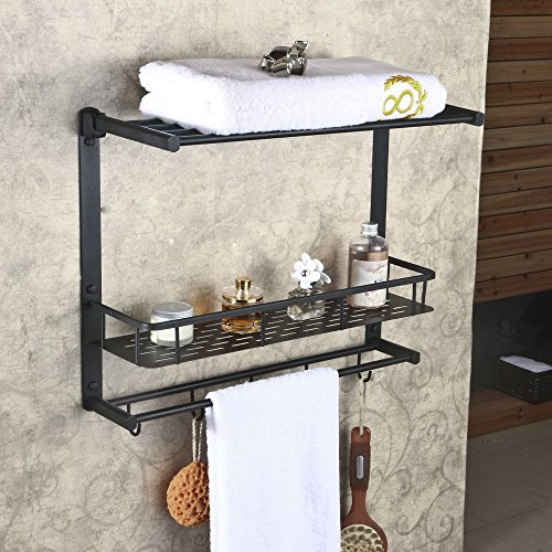 Hiendure™ Oil Rubbed Bronze Solid Brass Wall Mounted Dual Tier Corner Bracket Bathroom Storage Shelf Shower Caddy Cosmetics Holder with Safefix and Towel Bar by Hiendure