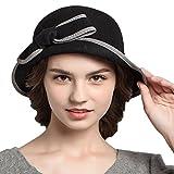 Maitose Trade; Women's Bow Wool Felt Bowler Hat Black