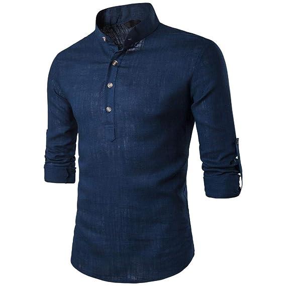 Btruely Herren_camisetas Stand Cuello para Hombre Tops Blusa de Manga Larga Daily Look Camisas de Lino